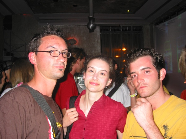 Christine Moritz at WMC 2004 with Aaron Morris and Rob